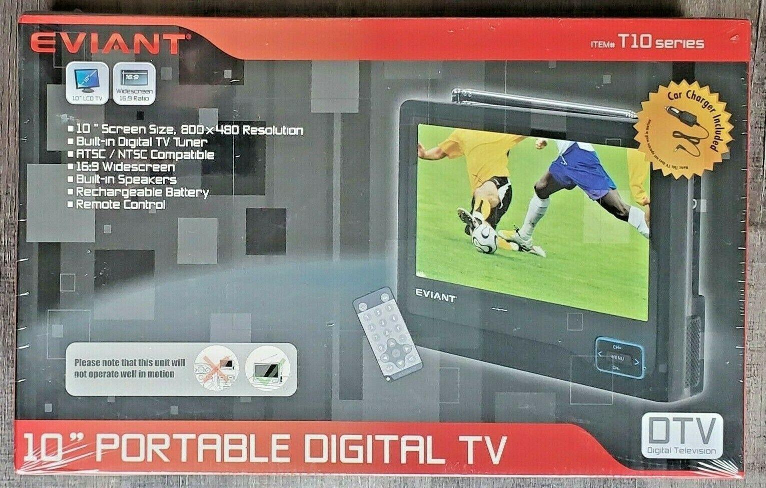 "EVIANT 10"" LCD Portable Digital TV Tuner T10 Series Remote C"