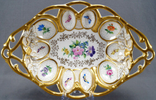 August Rappsilber German Dresden Floral Butterfly Gold Reticulated Serving Dish
