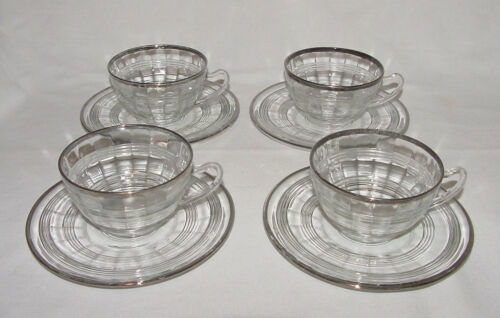 "SET OF FOUR Vintage Hocking ""BANDED RING"" Platinum Trimmed CUPS & SAUCERS!"