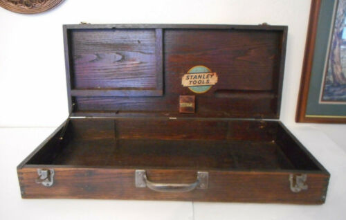 Antique Stanley Tools No. 902 Wooden Dovetailed Tool Case Box - Large