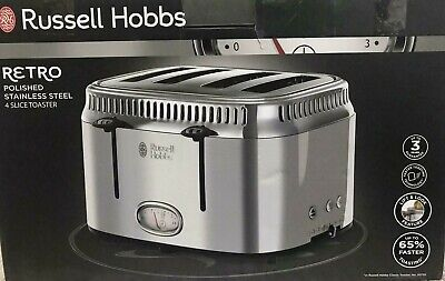 NEW! RUSSELL HOBBS RETRO 21695 POLISHED STAINLESS STEEL 4SLICE TOASTER