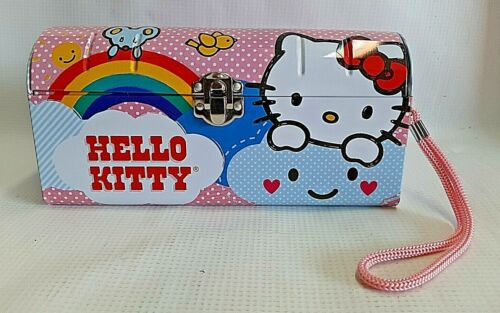 Hello Kitty Tin Clutch Purse Pencil Case Carry All w/ Pink Rope by Sanrio 2012