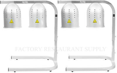 2 Pack Avantco Aluminum Heat Lamp Food Warmer 2 Bulb Stand Commercial Fry W62