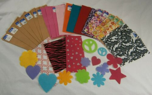 "Lot of 23 - 9"" x 12"" Felt Sheets & 13 Shapes - Solid Prints & Patterns - Crafts"