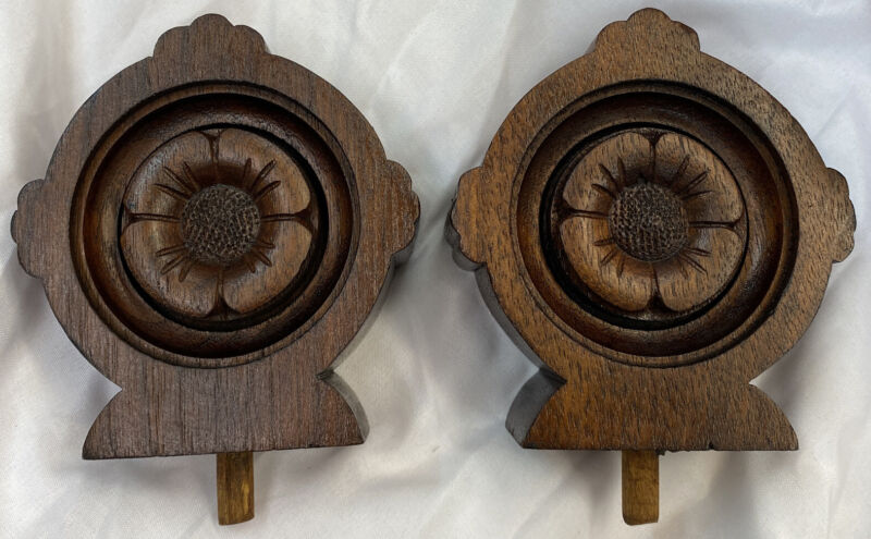 Matching Pair Bedpost Finial Post Victorian Antique Salvage Hand carved