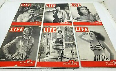 Lot of 6 Vtg 1940s LIFE Magazine All FASHION Subject COVERS Great Advertising
