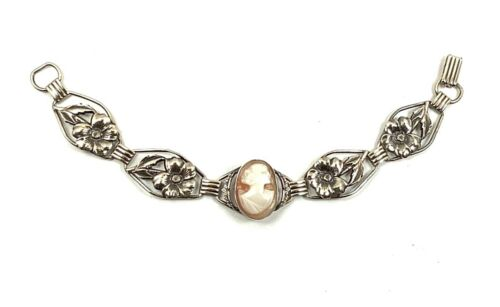 VTG Providence Stock Co. Art Nouveau Shell Cameo Floral Bracelet 12K GF over SS
