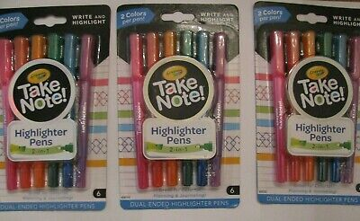 Lot Of 3 Crayola Take Note Highlighter Pens Free Shipping