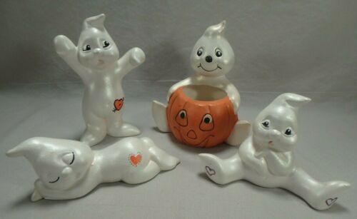 4 Vintage Halloween Handpainted Ceramic Ghost Figurines Decorations Cute