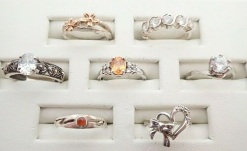 Vintage Lot of 7 Sterling Silver CZ Gemstone Heart Two Tone Bands Rings