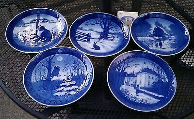 Lot of 5 Christmas Plates 1970 - 1971 - 1973 - 1974 & 1975 Royal Copenhagen