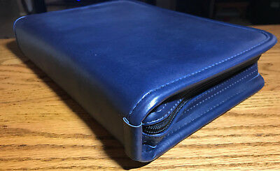 New Executive Zippered 3-ring Binder Padfolio Planner Organizer - Navy Blue Lk