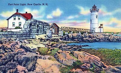 NH, Fort Point Light, New Castle, New Hampshire Linen Postcard