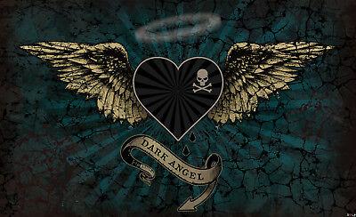 VLIES Fototapete-DARK ANGEL WINGS-(2365)-Alchemy Wings Skull Totenkopf Herz xxl