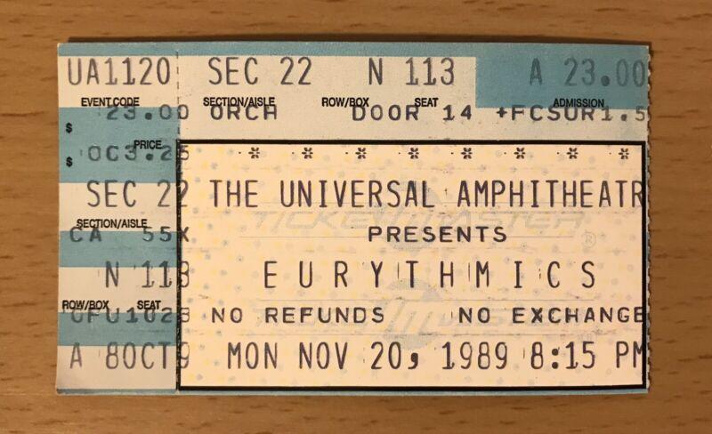1989 THE EURYTHMICS LOS ANGELES CONCERT TICKET STUB ANNIE LENNOX SWEET DREAMS