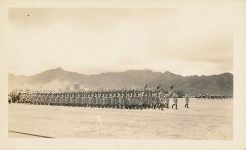 1935 Schofield Barracks Review 35th Inf Hawaii 2 Photos troops & band