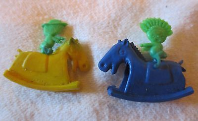 1960 Gumball Machine Toy Cowboy and Indian pair riding rocking horse plastic