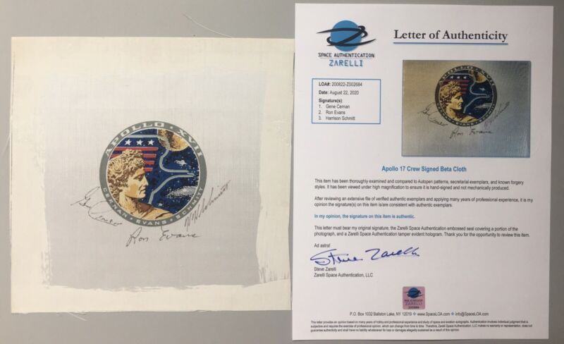 Nasa Apollo 17 Crew Signed Beta Cloth (Zarelli Authenticated)