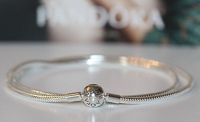 Chain Necklace Circular Clasp - AUTHENTIC NEW PANDORA 590742 ICONIC snake chain round clasp 42-50cm necklace BOX