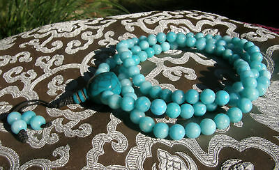 Mala Prayer Beads Turquoise Jade & Guru-Bead from Nepal! 8mm, Best Quality
