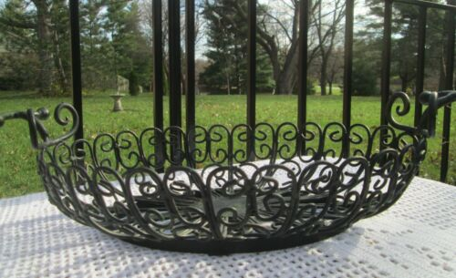 "Large Wrought Iron Oval Centerpiece Bowl Fruit Basket 17"" Long with Handles"