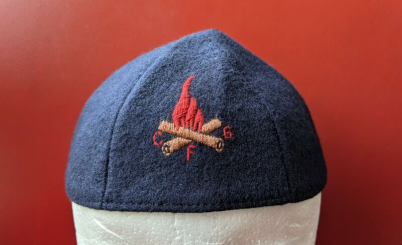 Vintage CAMP FIRE GIRLS Navy BLUE Felt Uniform Cap Beanie HAT 22