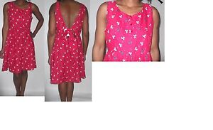 women-ladie-next-red-blue-bow-print-skater-open-back-50s-rock-dress-size-14-16