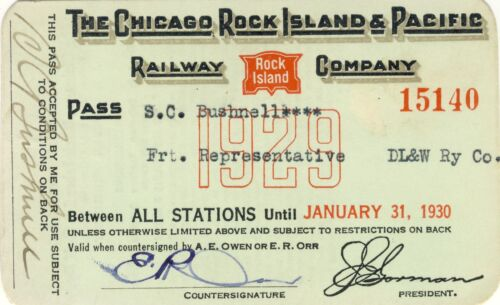 1929 CHICAGO ROCK ISLAND &PACIFIC RAILROAD ANTIQUE TICKET YEARLY RAIL BUSHNELL