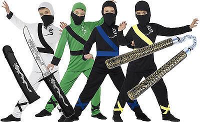 Halloween Costumes For Boys Age 4 (Boys Kids Childrens Ninja Assassin Halloween Fancy Dress Costume + Toys Age)