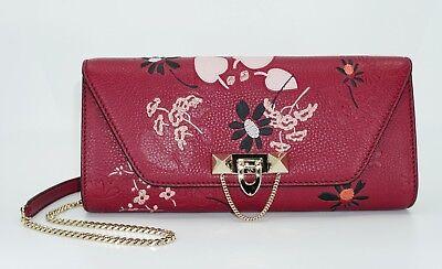 Valentino Garavani Demilune Embroidered Chain Leather Clutch Bag,Red,MSRP $2,175