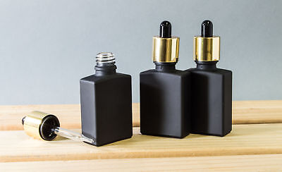 30ml Black Glass Rectangle Dropper Bottles with Gold Plated Tops (Pack of - Glass Rectangle Plates