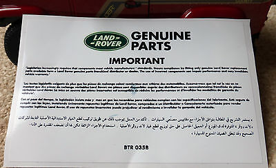 Heater Decal Label Genuine Parts Information Repro Land Rover Defender 90 110