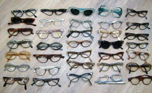 Vintage lot of 50s Cat Eye Glasses or Sunglasses Eyeglasses Frame 35+ Pairs