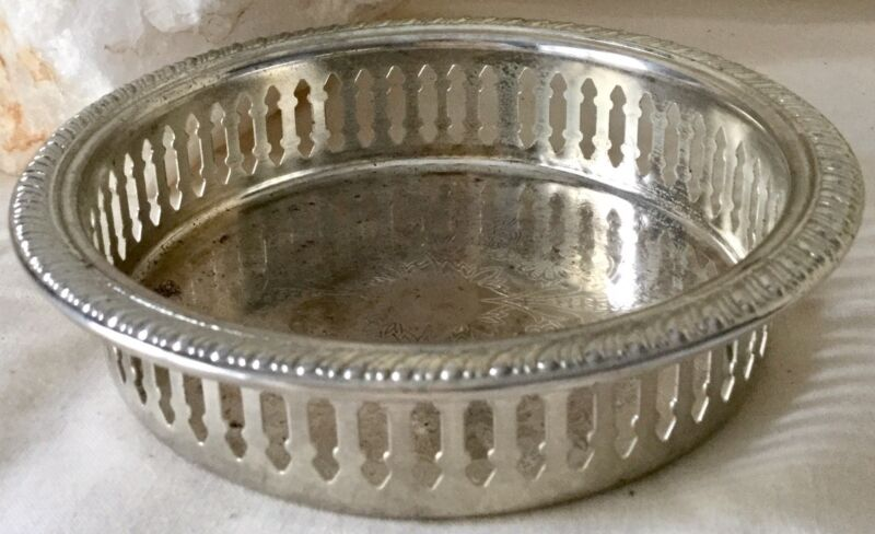 Vintage Silver Plated Wine Bottle Coaster Stand Chased Pretty Design
