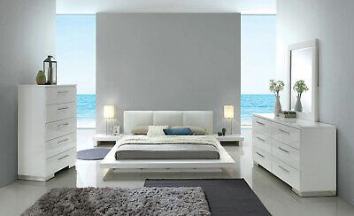 Contemporary White Lacquer Bedroom Furniture - 5pc Set w/ Queen Platform Bed DA2