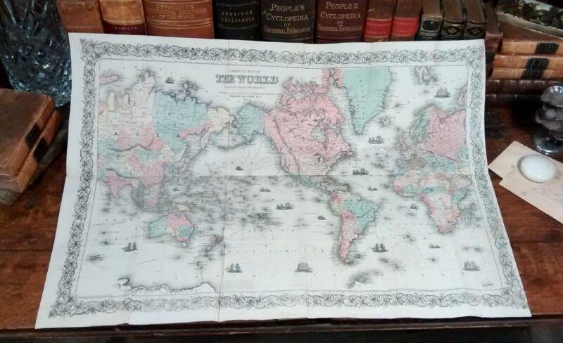 Rare Original 1861 Hand-Colored Antique Map THE WORLD Mercator Projection Globe