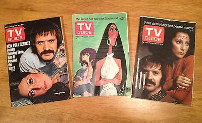 SONNY AND CHER TV Guide Lot 1972-1976 Magazines TV SHOW Sonny Bono SOLID BKS+1