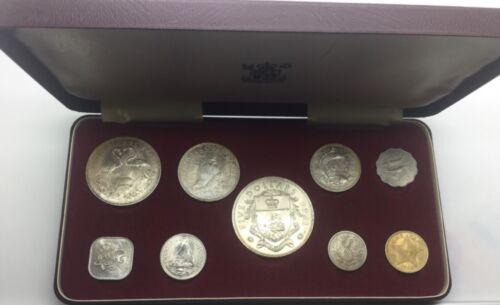 1966 Bahamas 9 Coin Set Silver $5 $2 $1 50 cents Original Box and Foam Nice Set