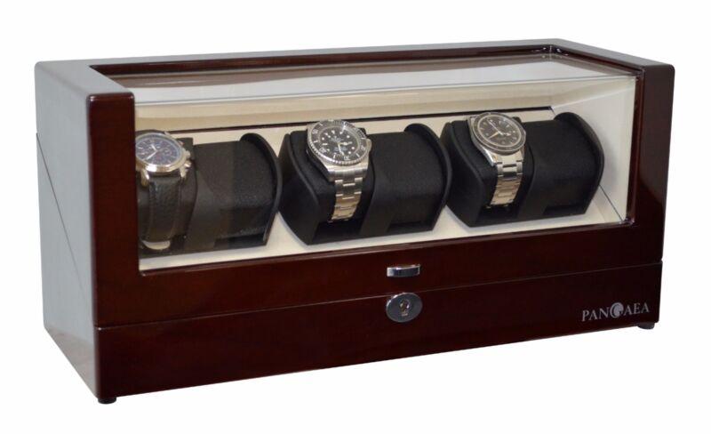 Pangaea Six Watch Winder With Japanese Mabuchi Motor For 6 Watches Mahogany Q630