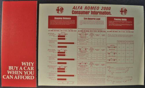 1974 Alfa Romeo 2000 Brochure +Sheet Spider Veloce GT Berlina Excellent Original