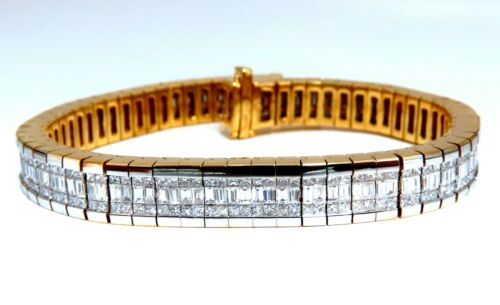 8.06ct Baguette Princess Cut Diamonds Invisible Multirow Bracelet 14kt Gold