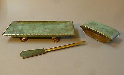 Art Deco Schreibtischgarnitur Stiftablage Stiftschale Brieföffner Messing um1930