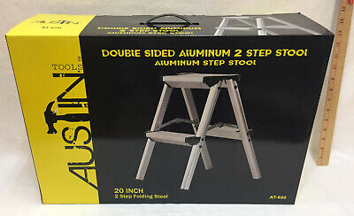 Double Sided 2 Step Stool Aluminum 20 Folding Austin Tools Ladder Home Garage