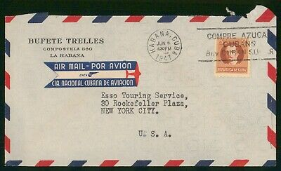 MayfairStamps Habana 1947 Bufete Trelles to New York New York Air Mail Cover wwo