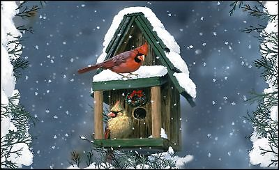 cardinals in snow 18 x 30 inch