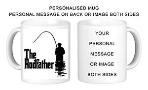 PERSONALISED THE RODFATHER FISHING MUG GIFT NOVELTY BIRTHDAY FUN (GEN23)