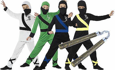 Boys Kids Childs Ninja Assassin Halloween Fancy Dress Costume  + Toy Age 4 - - Ninja Boy Child Kostüm