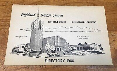 Louisiana  Shreveport  Highland Baptist Church  Directory 1966  Genealogy