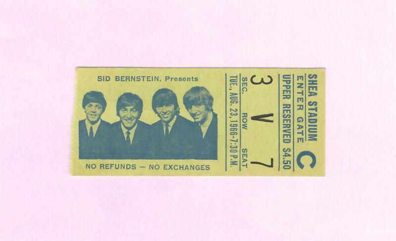 The Beatles Shea Stadium 1966 Concert Ticket Stub NEAR MINT ORIGINAL RARE