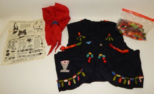 Vintage 1950s Handmade Camp Fire Girls Ceremonial Beaded Vest Scarf Pin & Extras